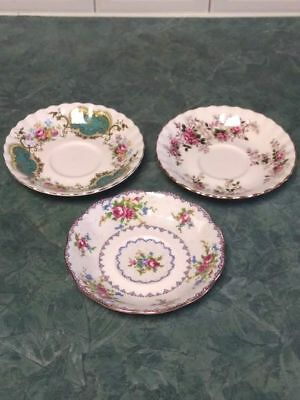 Lot of 3 Mid Century Royal Albert Bone China Saucers England 1960's