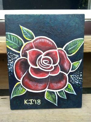 Acrylic on Canvas Painting 8 in. x 11 in. Entitled Red Rose 2018