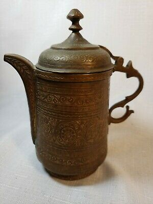 Antique bronze ornate etched teapot coffee pot Indian Middleeastern Nepal