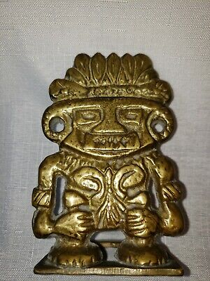 Vintage brass statue Of tribal warrior Tiki ?  precolumbian ? Mayan? Inca?
