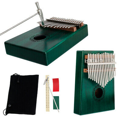 Green Kalimba Single Board Mahogany Thumb Piano Mini Mbira Keyboard Instrument