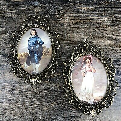"""Pair Of Vintage Italy Antique Brass Ornate 7"""" Oval Picture Frame Rococo Regency"""