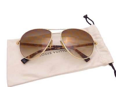 eee34f9967813 Auth Louis Vuitton Conspiration Pilote Sunglasses Brown Goldtone  USED  -  e40679