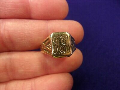 Really Unusual Vtg Antique 10K Yellow Gold Art Deco Era Signet Ring, Ag Monogram