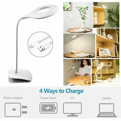 Clip-on Beside Table Bed Desk Lamp EYE PROTECTION Flexible USB Reading LED Light