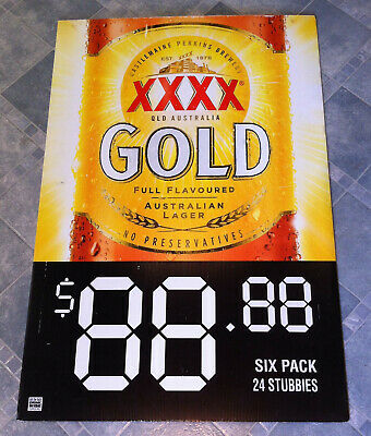 Vintage XXXX Gold Beer Double Sided Corflute Advertising Display Sign