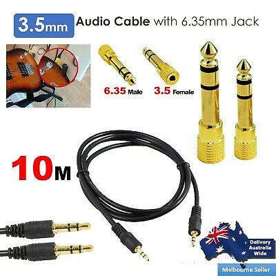3.5mm Male Stereo Audio Cable 10M+ 6.35mm Jack Electric Guitar Connector Adapter