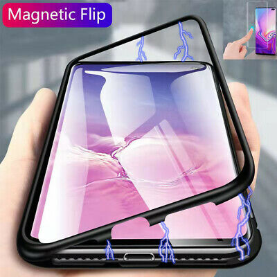 For Samsung Galaxy S10 Plus Case Magnetic Adsorption Metal Cover Tempered Glass