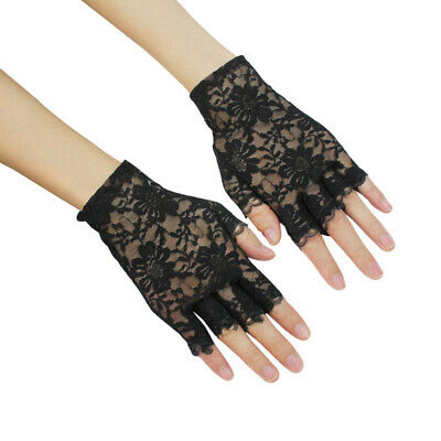 Girls Ladies Graceful Sexy Black Lace Party Costume Gloves Finger Fingerle ZDA