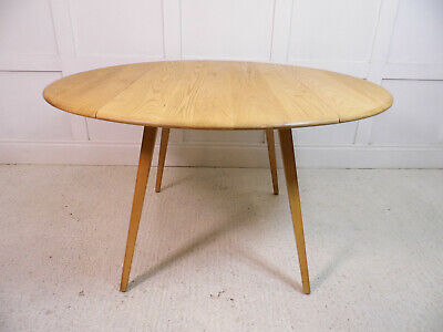 Vintage retro ERCOL circular dining kitchen drop leaf Light ELM table 1950s