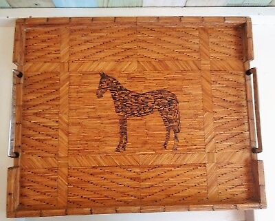 Vintage Hand Crafted Matchstick Art Serving Tray with Handles *Horse Decor