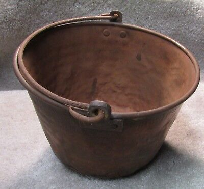 Antique (mid to late 1800's) copper/brass cooking pot, 9in x 7 in, VG