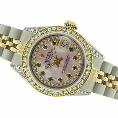 0d9b1db30fed0 Rolex Montre 18k or / Acier 26mm Femme - Datejust 69173 Rose Mop W Diamants  /