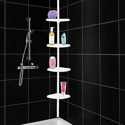 4 Tier Adjustable Telescopic Corner Shower Caddy Bathroom Shelf Organiser White