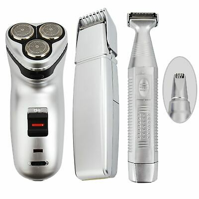 Mens Cordless Rechargeable Grooming Set Shaver & Hair Clipper Beard Trimmer