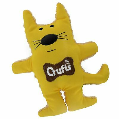 Crufts Puppy Dog Chew playtoy Soft Squeaky Cat Tough Assorted Colours