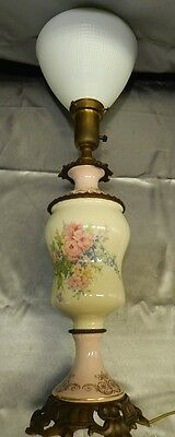 Antique Ornate Brass Hand Painted Floral Porcelain Torchiere Lamp w/ Milk Shade