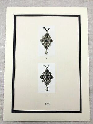 Rare Hans Holbein Print Limited Edition Medieval Jewelry Pearl Pendants Jewels