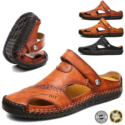 Men Summer Hand Stitching Shoes Closed Toe Comfy Soft Leather Sandals Large Size