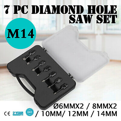 6PCS Diamond Holesaw Set 6x2/8x2/10/12/14mm M14 Vacuum Brazed Ceramic Drill Core