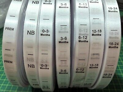 Clothing size labels - on Soft Satin Ribbon Baby sizes in months