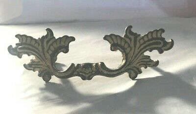"Single Vintage Brass French Provincial Drawer Pull 6"" wide x 2.75"" Screw set 4"""