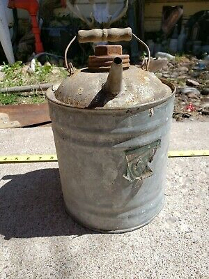Vintage Metal 1 Gallon (I think)  Gas Oil Kerosene Can With Wooden Handle