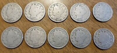 10 Liberty V Nickels Different Dates