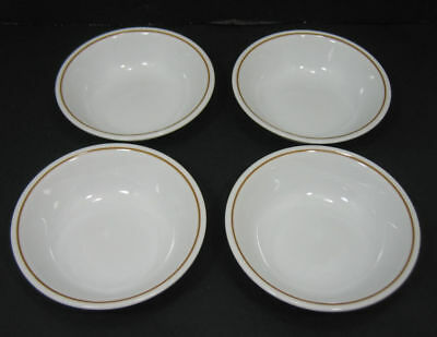 Lot/4 Corelle by Corning INDIAN SUMMER Fruit Dessert Bowls with Brown Ring