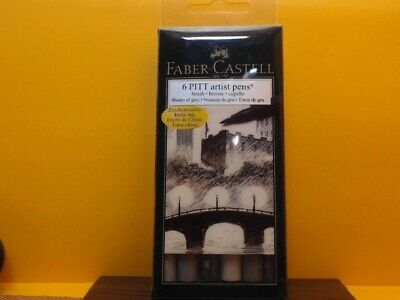 Faber Castell® 6 Pitt Artist India Ink Pens Brush set/Shades of Grey*New*