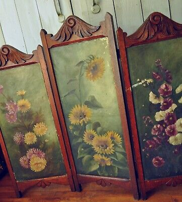 Victorian Antique Wooden Folding Fireplace Screen Oil Painting Inserts Signed