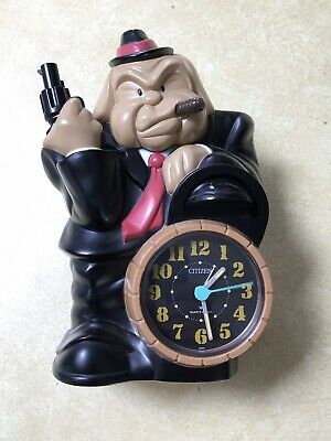 Rare Vintage Alarm Clock Citizen Japan 4RE424 Gangster Bulldog