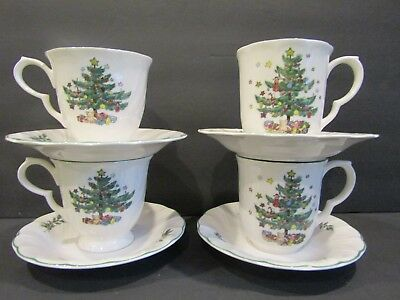 NIKKO JAPAN~Happy Holidays~Christmas Tree~2 MUGS & 2 CUPS~With Saucers