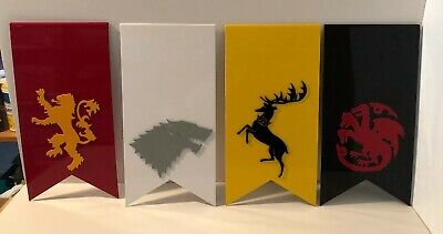 Set of 4 Game of Thrones Inspired Sigils - Each Banner 16X8 Made of Coated Metal