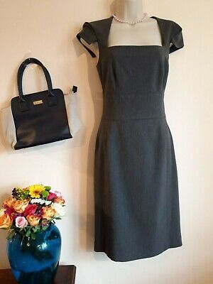 Phase Eight Dress Size 10 Pencil Sheath Bodycon 40s 50s Style Grey Work Occasion
