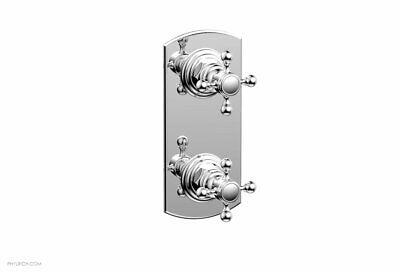 """Phylrich Hex Traditional 4"""" Two Cross Handle Mini Thermostatic Valve Chrome"""