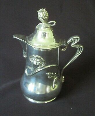 Antique Apollo Silver Co. Quadruple Silver Plate Art Nouveau Creamer / Syrup Jug