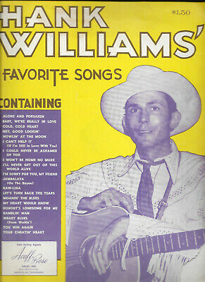 1953 HANK WILLIAMS Favorite Songs Song Book YOUR CHEATIN HEART 6 pgs B&W Photos
