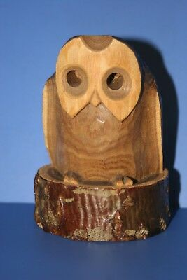 """The wood carving of the owl AINU """"Holes eyes"""" JAPAN 235"""