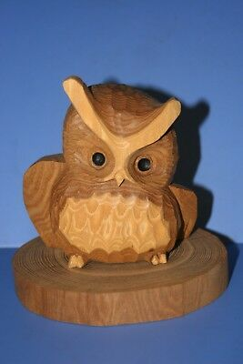 The wood carving of the owl Funny Face 222 AINU JAPAN