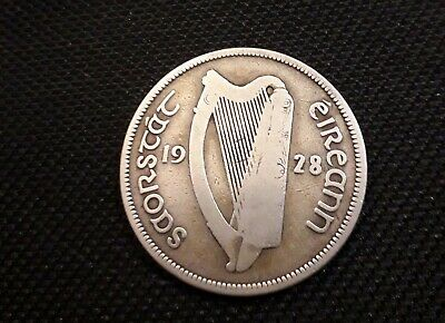 1928 Irish Silver Halfcrown Coin. Eire. Ireland Half Crown. Race Horse.