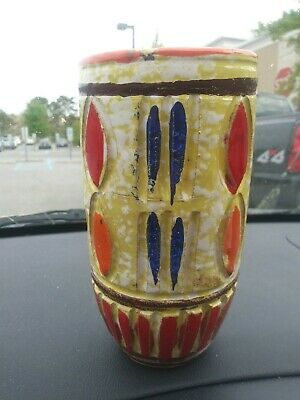 """Raymor Italian Pottery Vase Carved 6"""" Red Yellow Blue Midcentury 1950s"""