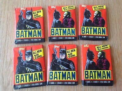 1989 Batman Topps Trading Cards 6 Unopened packs cards stickers bubblegum
