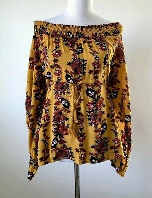 ea6881678 Buckle Coco + Jaimeson Womens Size Large Mustard Floral Off The Shoulder Top