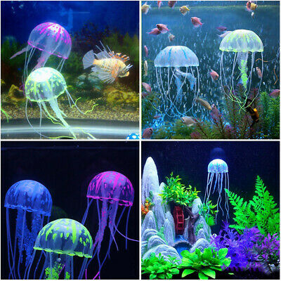 Lovely Aquarium Ornament  Artificial Jellyfish Fish Tank Decor Glowing Effect