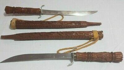 Antique Swords Two Thai Dha Hand Carved Teak Wood Scabbards Knives Approx 68cm