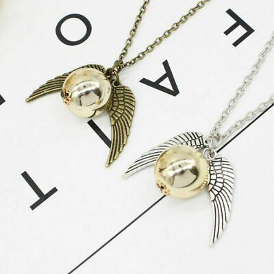 Harry Potter Golden Snitch Necklace Charm Silver Bronze Quidditch