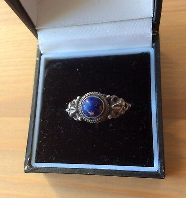Beautiful Antique Sterling Silver Lapis Floral Filigree Ring Size 9 or S