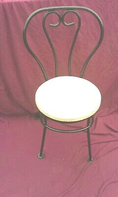 Vintage French Bistro Cafe Chair Solid Thick Wrought Iron Black / Cream