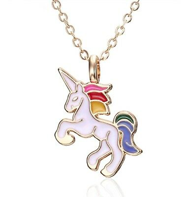 UNICORN Pendant Rainbow Coloured with Chain Charm Necklace Girls Party Gift